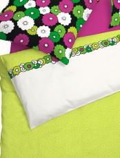 schlafgut bettw sche fun mako satin cm wiese gr n gebl mt ebay. Black Bedroom Furniture Sets. Home Design Ideas
