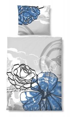 tom tailor bettw sche 2 tlg 155x220 cm baumwolle linon grau blaue blume ebay. Black Bedroom Furniture Sets. Home Design Ideas