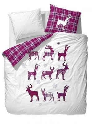 covers co flanell bettw sche elroy wei lila wintermotive cm ebay. Black Bedroom Furniture Sets. Home Design Ideas