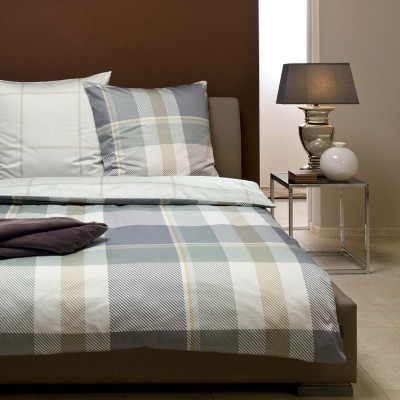 bugatti mako satin bettw sche grau kariert cm ebay. Black Bedroom Furniture Sets. Home Design Ideas