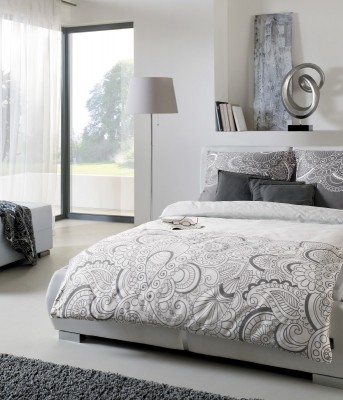 s oliver mako satin bettw sche 5066 820 grau ornamente cm ebay. Black Bedroom Furniture Sets. Home Design Ideas