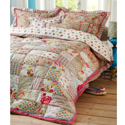 pip tagesdecke chinese blossom patch quilt khaki ebay. Black Bedroom Furniture Sets. Home Design Ideas