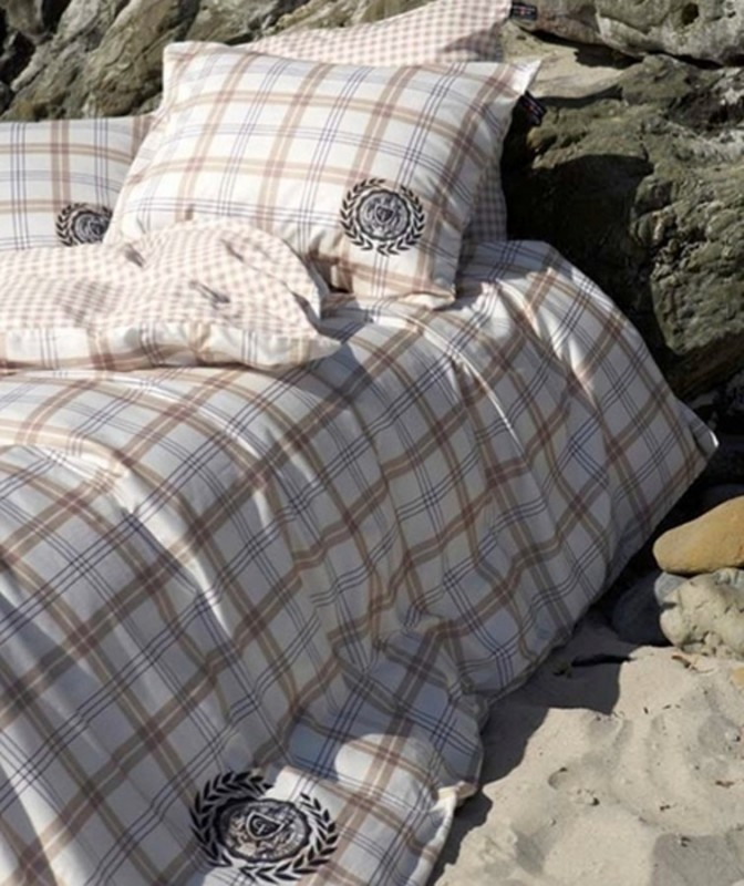 cottonfield bettw sche check beige 2 cm baumwolle perkal ebay. Black Bedroom Furniture Sets. Home Design Ideas