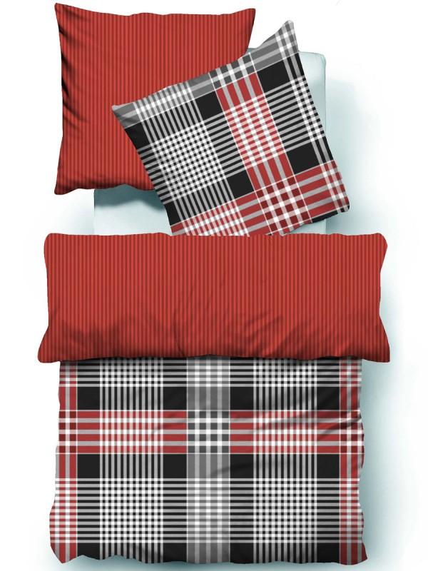tom tailor bettw sche biber grau rot kariert uvp 79 95 eur ebay. Black Bedroom Furniture Sets. Home Design Ideas
