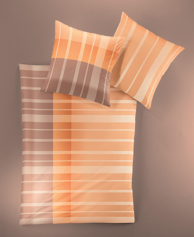 irisette bettw sche eos 2 tlg 135x200 cm mako satin orange ebay. Black Bedroom Furniture Sets. Home Design Ideas
