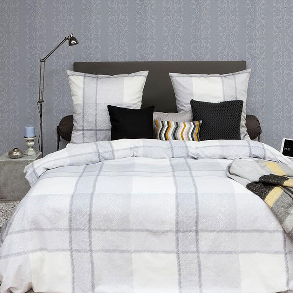 hnl baumwoll satin bettw sche karos grau 4986. Black Bedroom Furniture Sets. Home Design Ideas