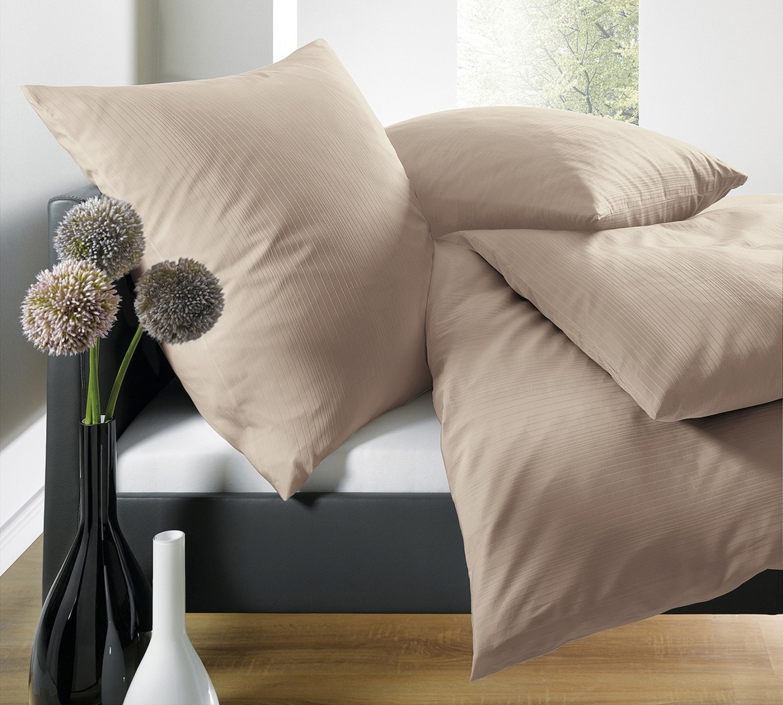 Schlafgut Bettw 228 Sche Uni Mako Satin Streifeneffekt Sahara 2517