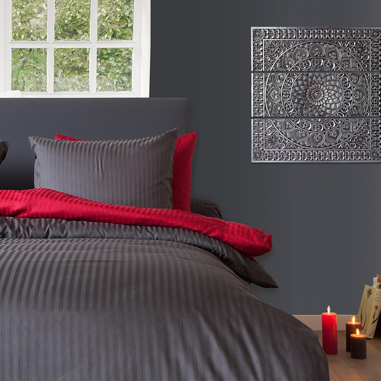 uni bettw sche mako satin in streifenoptik von hnl anthrazit 3071. Black Bedroom Furniture Sets. Home Design Ideas
