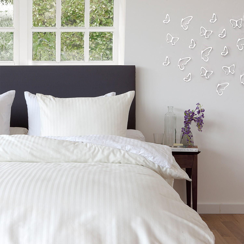 uni bettw sche mako satin uni in streifenoptik ecru 3072. Black Bedroom Furniture Sets. Home Design Ideas